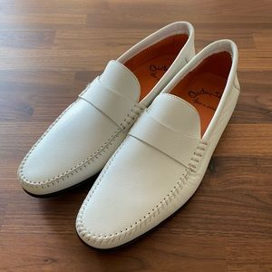 Santoni White Leather Loafer Size 8 NEW